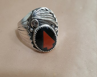 Navajo Sterling Silver Ring signed Robert Beecnti size 11