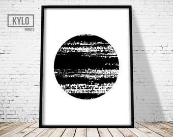 Ink Circle Print, Brush Stroke Art, Ink Blot Art, Abstract Poster, Modern Art Print, Brush Art, Abstract Printable, Circle Art, Circle Print