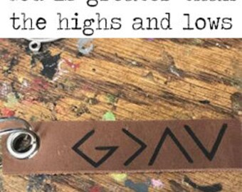 God is Greater than the Highs and Lows Keychain