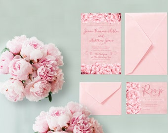 Wedding Invitations w/ RSVP Cards for Shabby Chic Weddings / Coral Pink Peonies / PRINTED Wedding Invites 6x9 /  Wedding Suite / Wedding Set