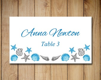 "Beach Wedding Place Card Template | Wedding Escort Card ""Seashell"" Royal Sky Blue Silver Gray 
