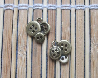2 charms bronze metal buttons