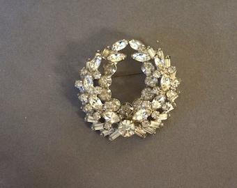 Vintage Rhinestone Sash Pin Brooch