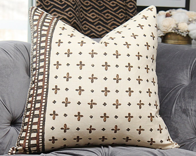 Hand Printed Ethnic Inspired Pillow Cover - Brown, Charcoal and Creme Stripe Medallion - Designer Pillow Cover - Katie Leede & Co