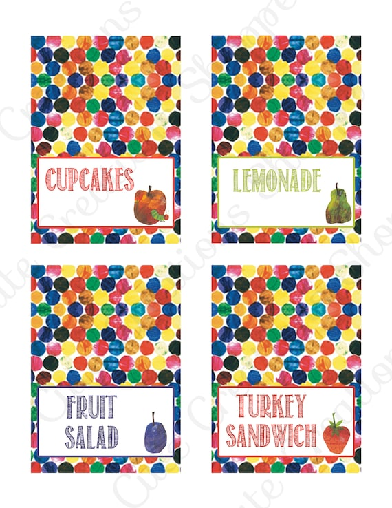 Very Hungry Caterpillar Birthday Party Food Labels With
