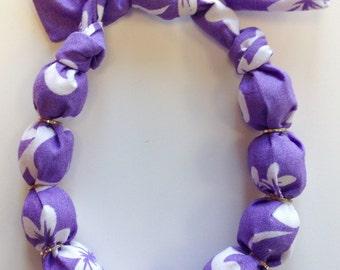 Purple Hawaiian Hibiscus Flower Fabric Wrapped Wood Bead Bracelet