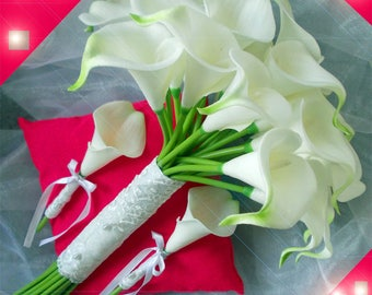 round bridal white and 2 boutonnieres lilies artificial and lace bouquet