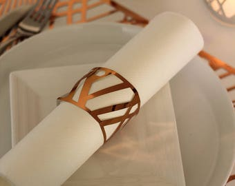 Copper Napkin Wraps, Wedding Napkin Wraps, Foil Chic Design, - PACK OF 20