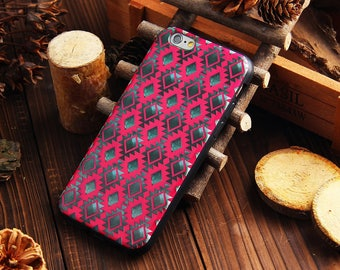Vintage Check iPhone 6s Leather case with black soft silicone edge iPhone 6 Rose cover - PU6032U