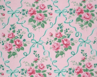 """END of BOLT - 20"""" - Verna Mosquera - Veranda - Ribbons and Roses in Blush - pink teal mint jade rose ribbon cotton quilting fabric - REMNANT"""