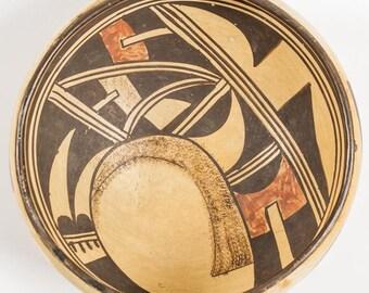 Native American Vintage Hopi Poly Chrome Pottery Bowl, Ca 1940, #1266