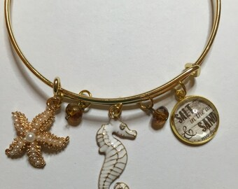 "Seahorse Bangle Bracelet. Free Shipping Gold toned Seahorse and Starfish Charms, Photo Charm"" Salt in the Air Sand in my Hair,"" Gift for her"