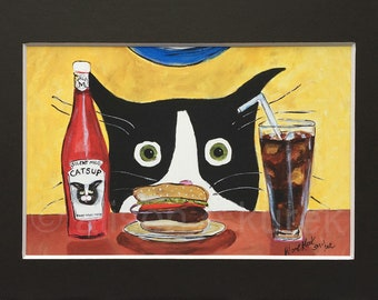Funny Tuxedo Cat with Hamburger Painting - Cat Art Print in 5x7 Black Mat - Gift for Cat Lover - Silent Mylo Tuxedo Cat and the Burger