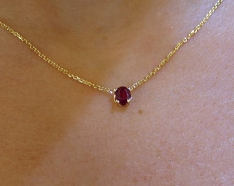 Ruby Necklace / 14k Gold Natural Ruby Solitaire Necklace / Ruby Solitaire Necklace / Ruby Prong Set Necklace / July Birthstone Necklace