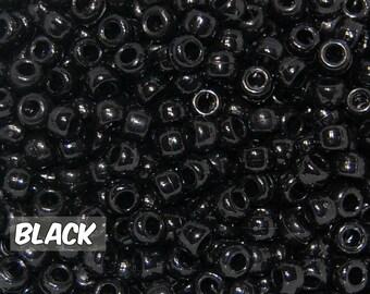 Black Opaque 6x9 mm Barrel Pony Beads