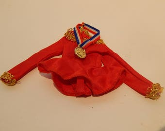 Vintage Barbie or Fashion Doll Olympic Skating Dress with Gold Medal