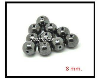 X 10 black 8mm round Hematite beads.