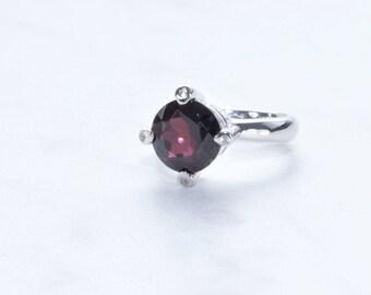 Garnet Gemstone Ring set on Sterling Silver,