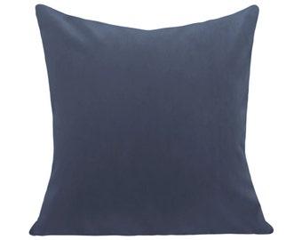 Blue Velvet Pillow Cover - Decorative Pillow - Both Sides - 12x16, 12x20, 14x18, 14x24, 16x16, 18x18, 20x20, 22x22, 24x24, 26x26