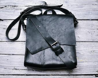 Handmade leather bag, Black leather bag, Leather backpack,leathercraft, Leatherwork