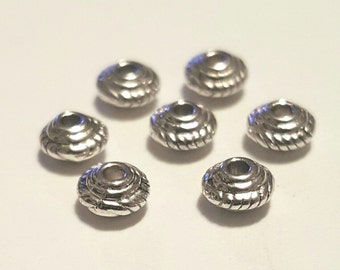 Silver Spacer Beads - 100 pcs. - Bicone Spacer Beads - Spacer Beads - Antiqued Silver Beads - Silver Bead Spacer - Bead Spacer