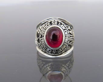 Vintage Sterling Silver Red Ruby 1996 High School Men's Ring Size 9.75