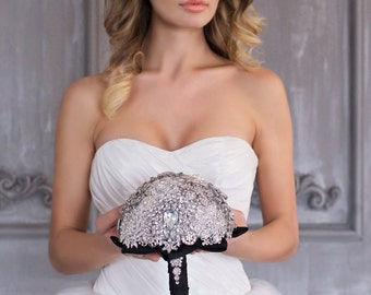 Diamante Brooch Bouquet - Bridal Bouquet - Wedding black handle