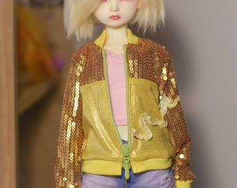 Handmade hoody and other clothes for MSD 1/4 BJD dolls.