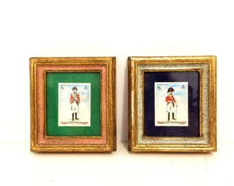 Pair of Framed 1971 Military Uniform Grenada Stamps.Grenada.Stamps.Vintage.Stamp Collection.Militaria.1971.Military Uniform
