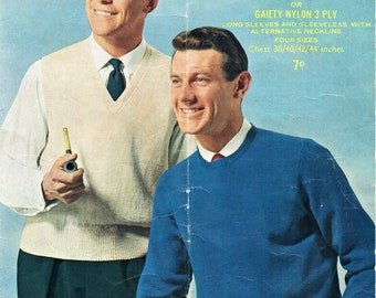 mens sweater slipover knitting pattern pdf 3ply jumper sleeveless pullover Vintage 50s 38-44 inch Instant download