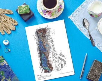 Otter Colouring Page, Adult colouring pages, Cute Otter Coloring Page, Printable coloring pages, Coloring book, Otter,