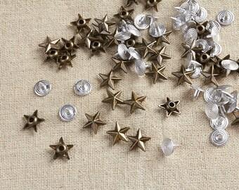 50Pcs 12 mm Antique Brass Star Rivets / Stud 12mm / small star rivet / Stud /#12