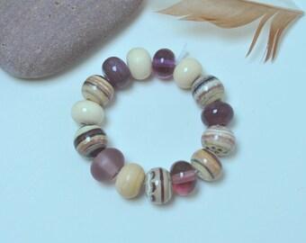Plum Ivory I - Artisan lampwork beads by Loupiac