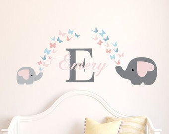 Girls Initial & name mom and baby elephant with butterflies-Personalized monogram vinyl wall decal-baby, pink, nursery, kids bedroom-0163