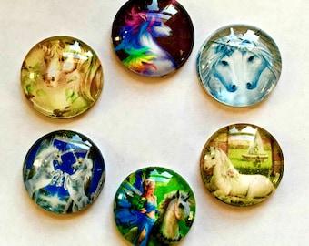 Unicorn Magnets - Unicorns - Set of 6 - 1 Inch Domed Glass Circles - Free U.S. Shipping -