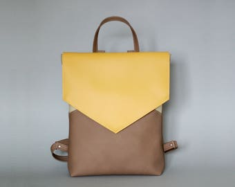 Vegan leather backpack - Minimal backpack - Yellow backpack - Faux leather backpack