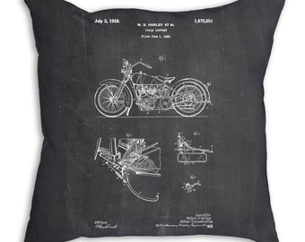 Harley Davidson Model JD Patent Pillow, Harley Motorcycle, Harley Davidson Bedding, Vintage Motorcycle, Transportation Nursery, PP0010