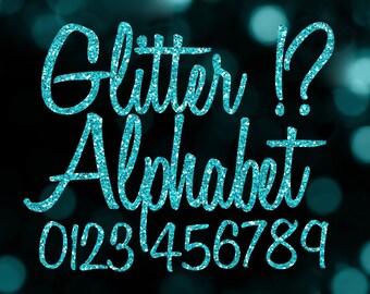 Blue Glitter Alphabet Clipart: Digital Glitter Alphabet Clip Art, Blue Glitter Letters, Large Glitter Letters, Aqua Digital Alphabet Letters