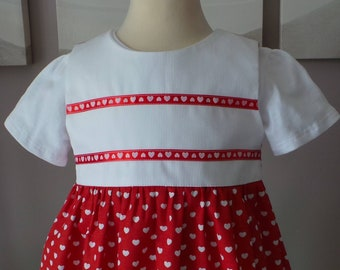 romper 18 months red motives cotton hearts
