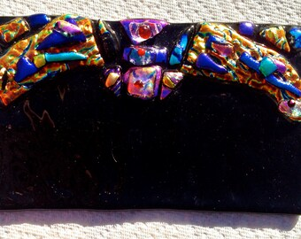 MODERN Abstract BAT Fused Glass PAPERWEIGHT
