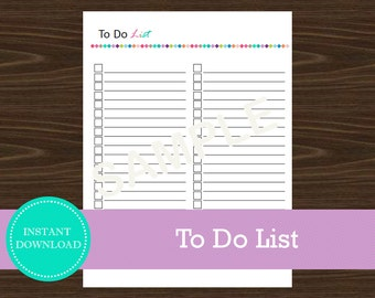 To Do List - Productivity List - Printable and Editable - INSTANT PDF DOWNLOAD