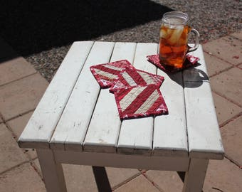 Set of 4 Handmade Quilted Drink Coasters Red/White