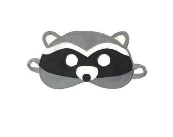 Raccoon Mask, Children's raccoon mask, Kids raccoon mask, Children's animal mask,  Felt mask