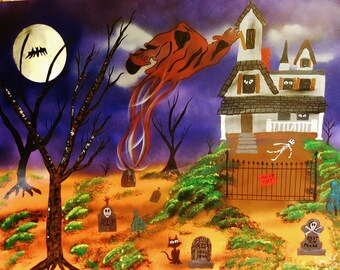 "Haunted Halloween Art cemetery  22"" x 28""  Halloween Art,  Halloween wall decor, original haunted Halloween painting"