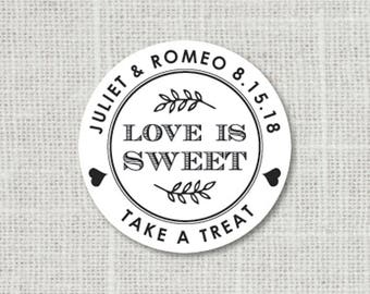 Love is Sweet Custom Wedding Stickers Candy Buffet Labels Treat Bag stickers Take A Treat Stickers for Favors Love is Sweet Stickers