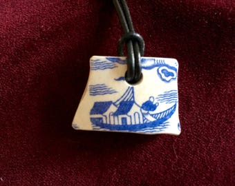 Vintage Thames foreshore  pottery shard pendant
