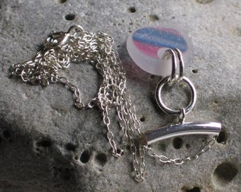 Rare Pink and Blue Multicolor Sea Glass Sterling Silver Pendant Necklace (808)