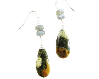 Dandeite Opal Earrings, Opal & Labradorite Dangles, Opal Jewelry
