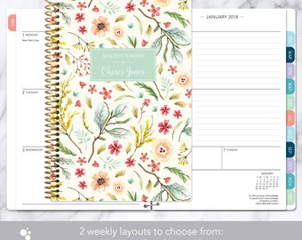 2018 planner calendar choose start month | add monthly tabs weekly student planner college personalized agenda daytimer | meadow floral