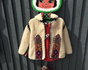 Children's hand woven ethnic jacket with toggle and hood, 4 - 5 years, vintage